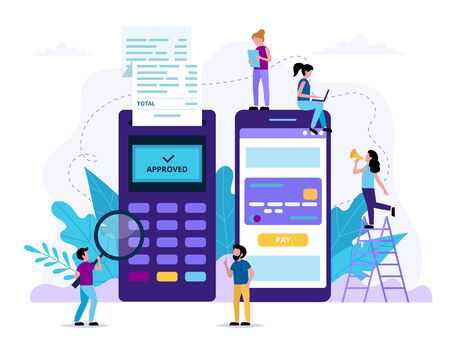 Mobile payment via smartphone. POS terminal and a smartphone application for payment. Small people doing various tasks. Concept vector illustration in flat style