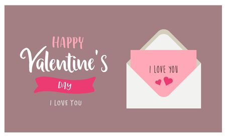 Valentine s day greeting card with envelope and love letter. Cute vector illustration in flat style with lettering