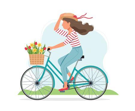 Mujer en bicicleta en primavera con flores en la canasta. Ilustración de vector lindo en estilo plano
