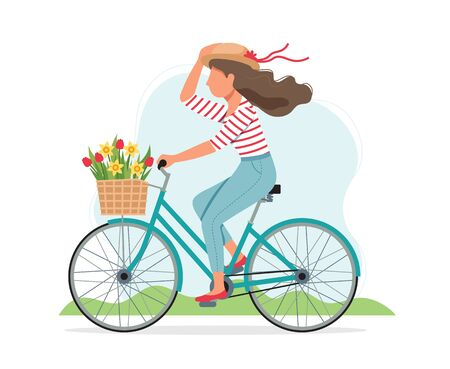 Woman riding a bike in spring with flowers in the basket. Cute vector illustration in flat style