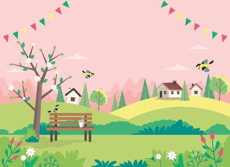 Hola primavera, paisaje con banco, casas, campos y naturaleza. Guirnaldas decorativas. Ilustración de vector lindo en estilo plano