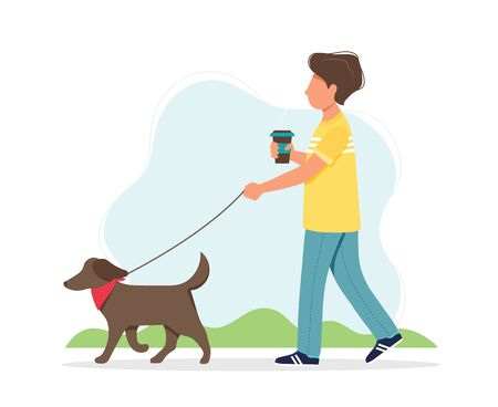 Man walking a dog with a coffee cup in spring. Cute vector illustration in flat style