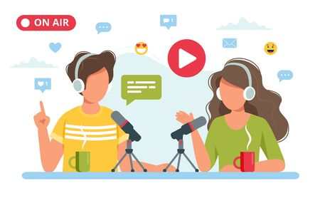 People talking to microphone recording podcast in studio. Vector illustration in flat style