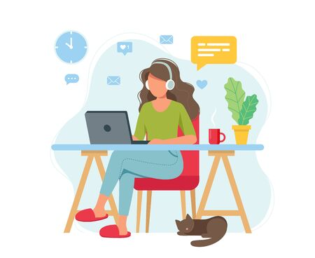 Home office concept, woman working from home, student or freelancer. Cute vector illustration in flat style Ilustração