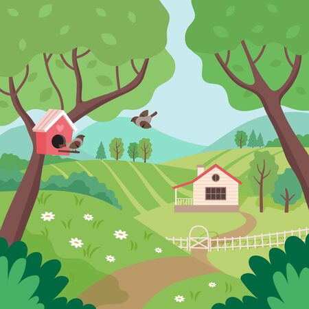 Spring countryside landscape with house, trees and birds. Cute vector illustration in flat style Ilustração