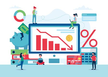 Economic crisis concept, stock market graph falling down, financial crisis and bankruptcy. Small people characters. Vector illustration in flat style Ilustração
