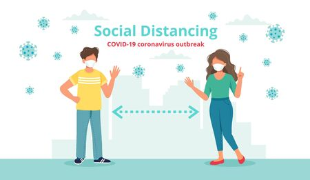 Social distancing concept with two people at a distance waving to each other. Vector illustration in flat style Vetores