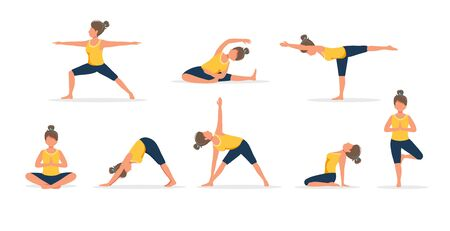 Woman practicing yoga, set of different poses. Healthy lifestyle. Vector illustration in flat style