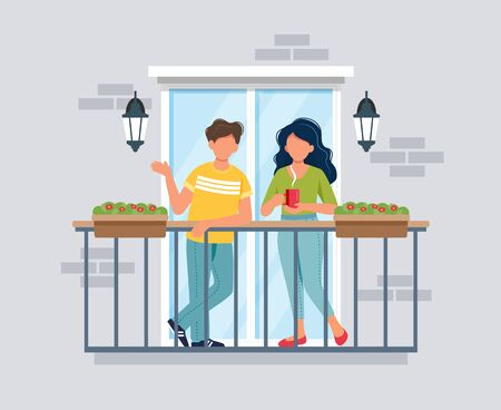 People on balcony, coronavirus concept. Stay at home during epidemic. Cute vector illustration in flat style Vecteurs