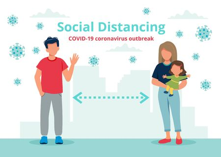 Social distancing concept with people at a distance. Vector illustration in flat style