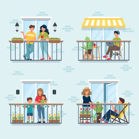 People on balcony, social isolation concept. Stay at home during epidemic. Cute vector illustration in flat style