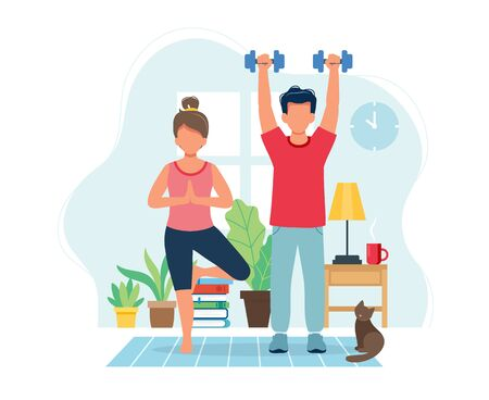 Stay home concept. People doing exercise in cozy modern interior. Vector illustration in flat style Vektorgrafik