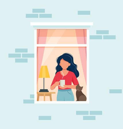 Stay home concept. Woman looking out window. Social isolation during epidemic. Cute vector illustration in flat style