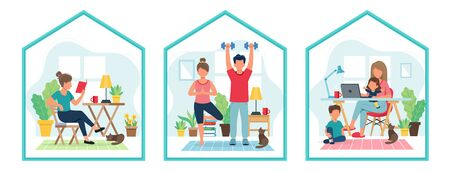 Stay home concept. People doing sport, reading, working from home in cozy modern interior. Vector illustration in flat style Illustration