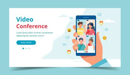 Group call with friends, video conference. Hand holding smartphone. Landing page template. Vector illustration in flat style Illustration