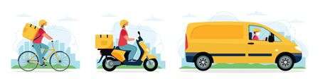 Delivery service concept, courier character riding bike, scooter, car. Vector illustration in flat style