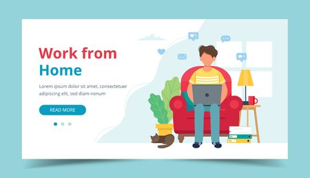 Home office concept, man working from home sitting on a chair, student or freelancer. Landing page template. Cute vector illustration in flat style Illustration