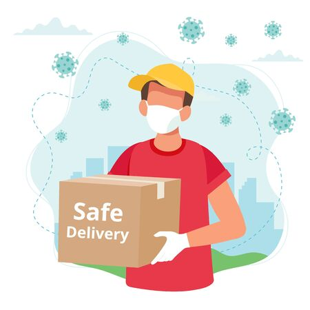 Safe delivery concept, delivery man with a box wearing mask. Vector illustration in flat style