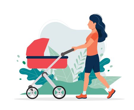 Happy woman with a baby carriage in the park. Vector illustration in flat style, concept illustration for healthy lifestyle, motherhood. Vettoriali