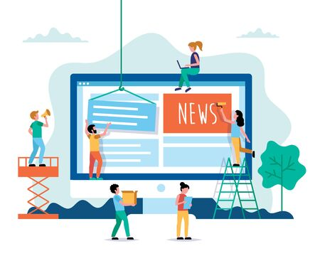Creating News, internet news concept vector illustration in flat style. People working on website. Characters doing various tasks, teamwork.