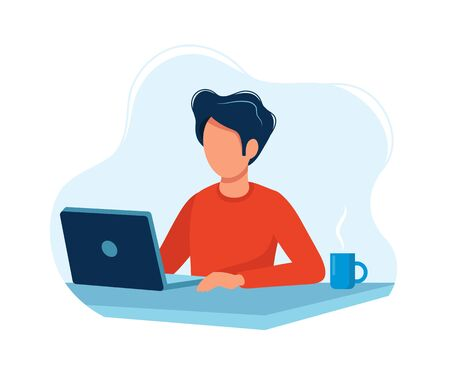 Man working with computer. Concept illustration, working process, management, freelance, office, work from home, business meeting via internet, communication. Bright colorful vector illustration. Vectores