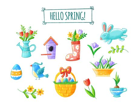 Hello spring hand drawn element collection - cute flowers, bird, bunny, easter eggs, watering can, nesting box, seasonal illustrations. Isolated on white background Reklamní fotografie