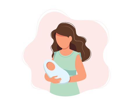 Woman holding newborn baby, concept vector illustration in cute cartoon style, health, care, maternity Illustration