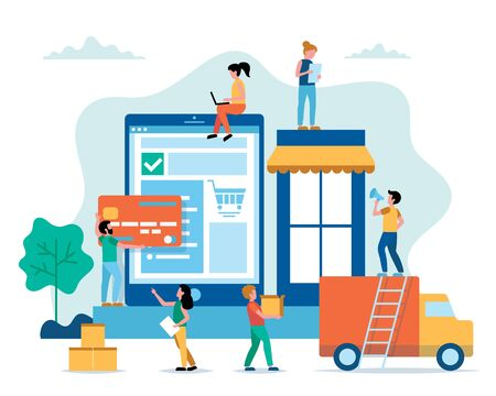 Online shopping concept illustration in flat style with little people. Buying goods on internet, delivery, shipping service. Vector illustration Vectores