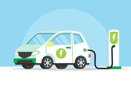 Electric car charging its battery, concept illustration for green environment, ecology, sustainability, clean air, future. Vector illustration in flat style. Illusztráció