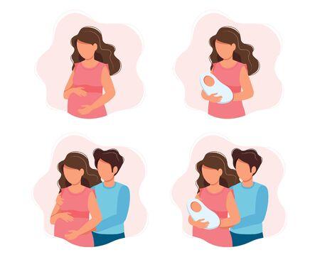 Illustrations de concept de grossesse et de parentalité - différentes scènes avec une femme enceinte, une femme tenant un nouveau-né, un couple en attente, des parents avec un bébé. Illustration vectorielle en style cartoon. Vecteurs