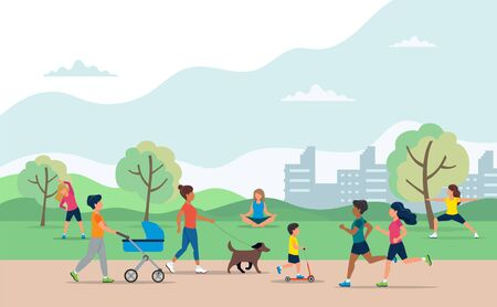 People doing various outdoor activities in the park. Running, on bike, on scooter, walking the dog, exercising, meditating, walking with baby carriage. Vector illustration of healthy lifestyle.