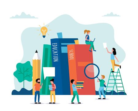 Education concept vector illustration in flat style. Online education, school, university, creative ideas. People working with books. Characters doing various tasks, teamwork.