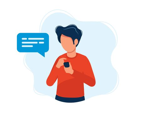 Man with smartphone. Concept illustration, texting, messaging, chatting, social media, customer assistance, meeting via internet, communication. Bright colorful vector illustration. Vectores