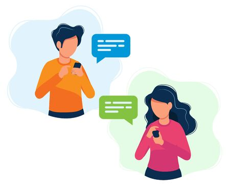 Man and woman with smartphones. Concept illustration, texting, messaging, chatting, social media, customer assistance, dating, communication. Bright colorful vector illustration.