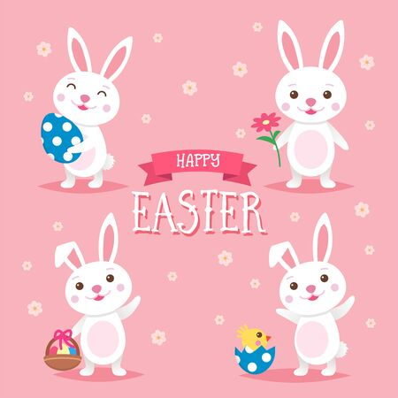 Happy Easter background with easter bunnies and lettering. Cute cartoon vector illustration Ilustração
