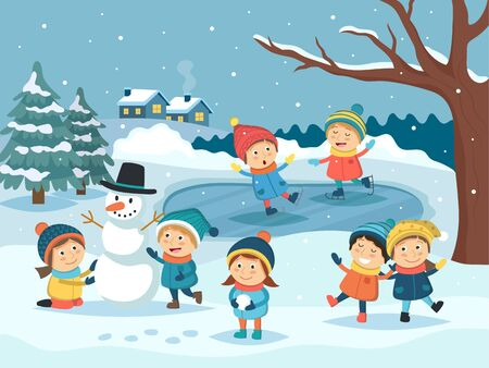 Winter children scene - kids playing outdoor in the snow, making snowman, ice skating. Winter landscape, christmas and new year greeting card. Vector illustration in cartoon style