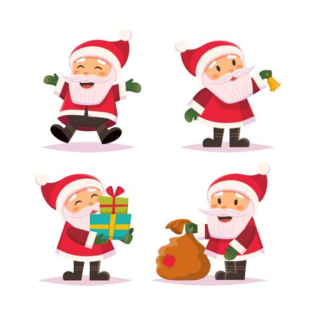 Santa Claus cute character set in flat style, isolated on white background. Vector illustration Векторная Иллюстрация