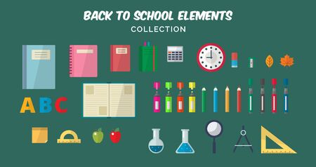 Back to school flat elements collection. Different school elements, books, notes, pens, pencils, markers, rulers, backpack, clock, ball. Vector illustration template