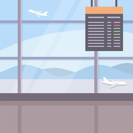 Airport background, a terminal view with electronic flight screen. Vector illustration in flat style