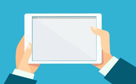 Tablet background - hands holding a tablet with blank space on it. Vector illustration in flat style, banner template for business, technology, education, finance Ilustração