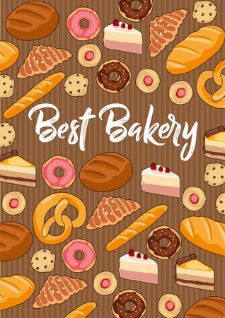 Bakery with hand drawn donuts, cookies, cakes, croissants and breads. Vector illustration in flat style