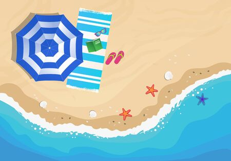 Beach from above, view with umbrella, beach towel, sunglasses and flip flop. Vector hand drawn illustration 向量圖像