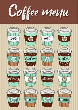 Coffee menu, vector illustration with hand drawn cute paper coffee cups