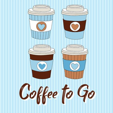 Coffee to go vector illustration with hand drawn coffee cups 向量圖像