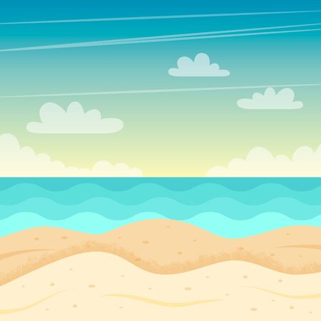 Beach landscape. Colorful summer design. Vector illustration in flat style Ilustrace