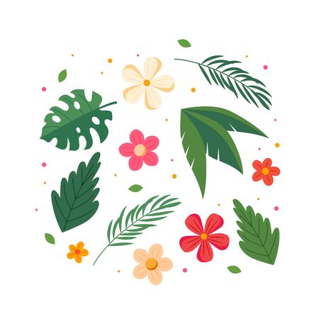 Summer flowers and leaves collection. Colorful summer design. Vector illustration in flat style