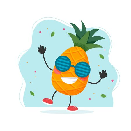 Cute pineapple character. Colorful summer design. Vector illustration in flat style