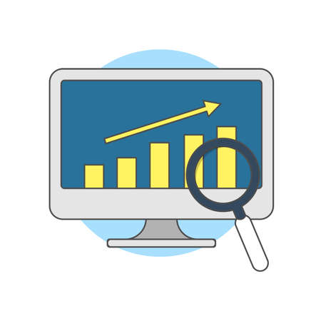 Business growth. Website illustration, digital solutions icon. Vector illustrations in flat style