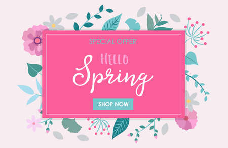 Hello spring - vector illustration with flowers and leaves and lettering. Design template 矢量图像