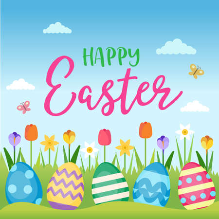 Happy Easter - greeting card with lettering and spring landscape with flowers and Easter eggs. Vector illustration design template